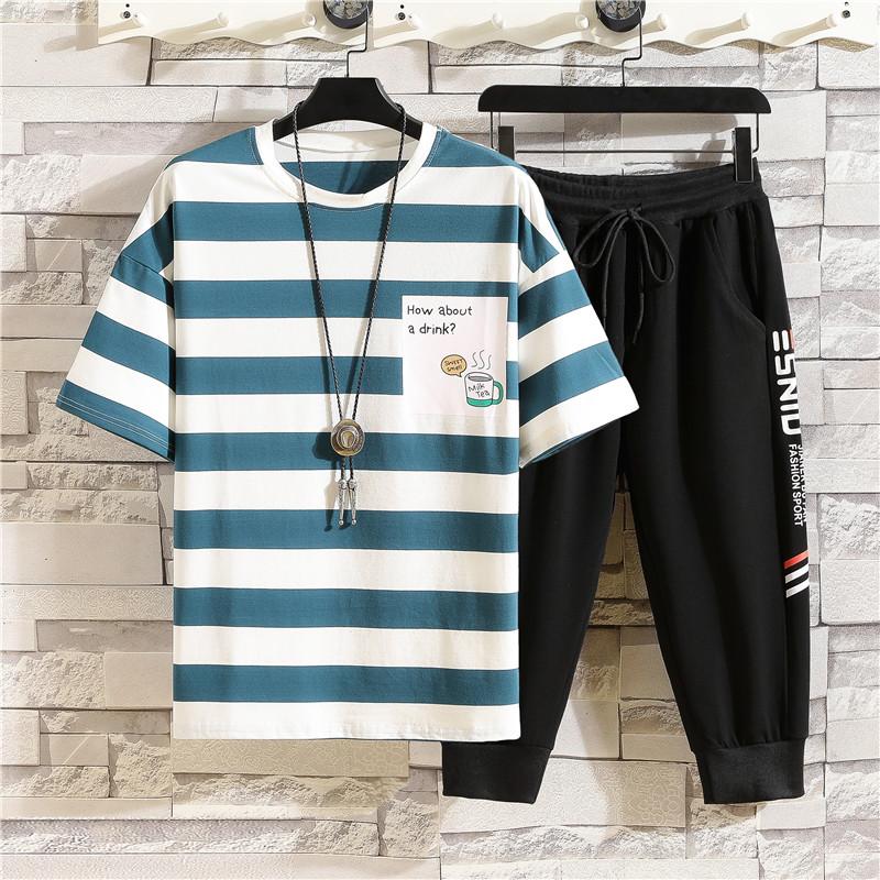 青少年男装纯棉条纹短袖t恤套装12-15岁13大童14男孩初中学生夏装