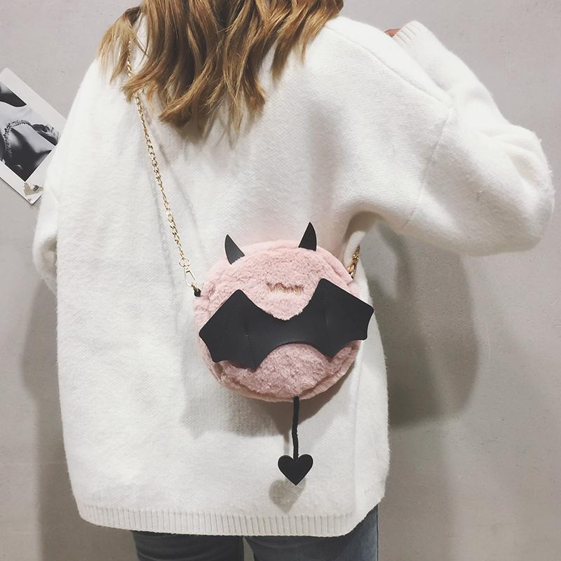 搞怪小包包女2018新款韩版小魔鬼可爱小圆包毛绒链条单肩斜挎包潮