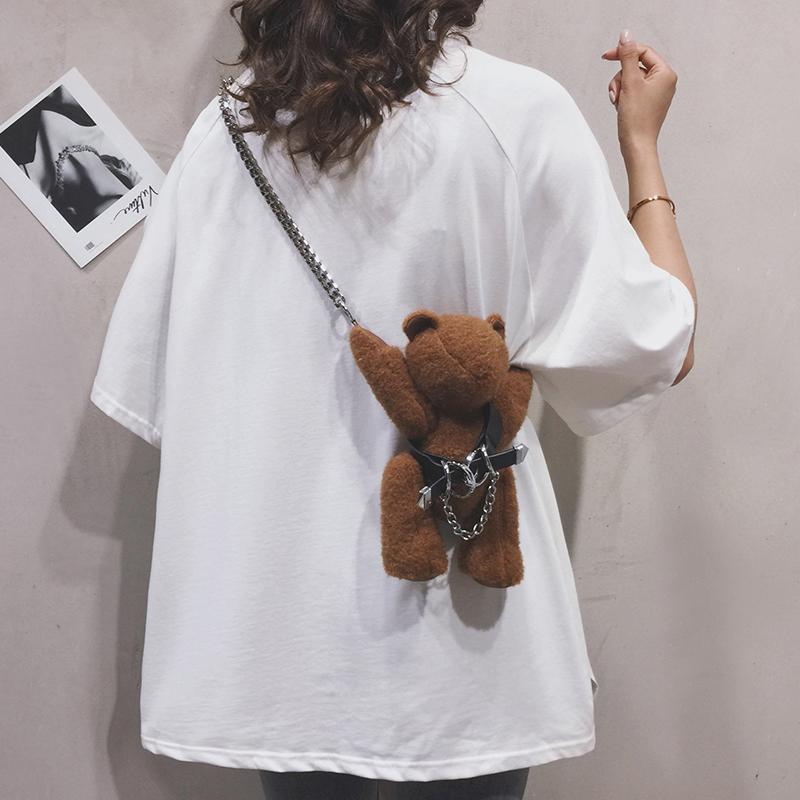 小熊包包女2020新款可爱卡通毛绒包潮ins网红百搭个性单肩斜挎包