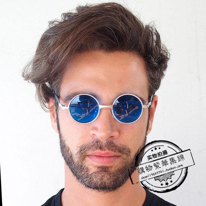 代购复古小圆形银蓝色太阳眼镜墨镜维多利亚式哥特朋克Hi Tek男女