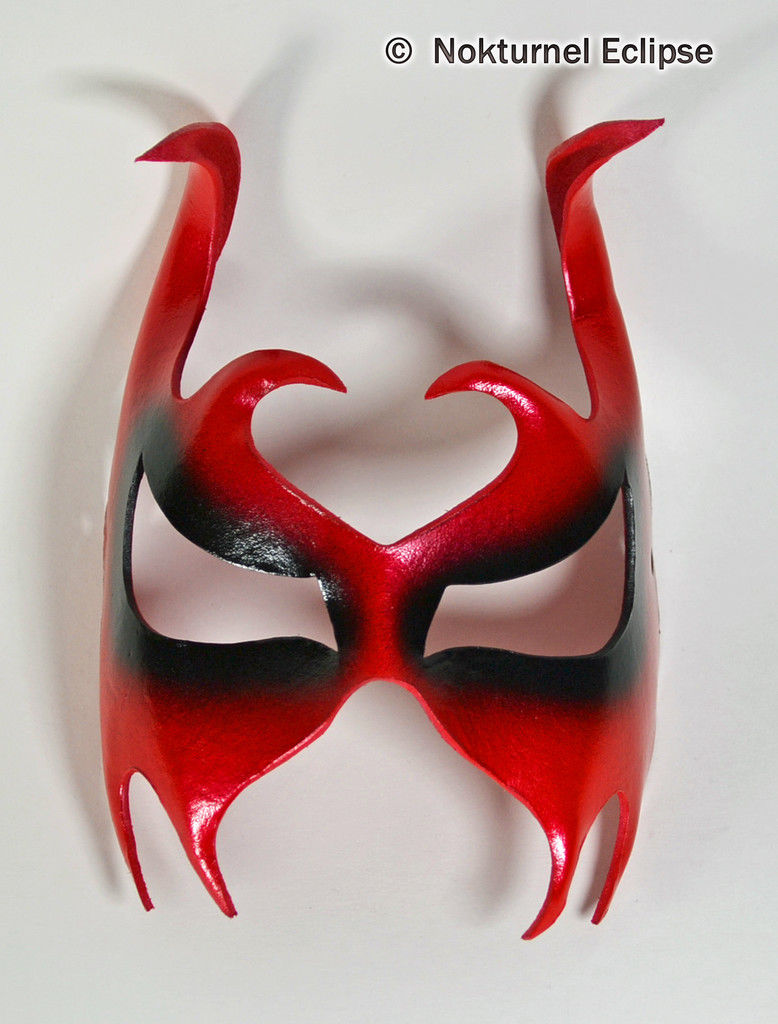 Buy red leather mask corner Halloween masquerade ball devil cosplay costume accessories props for adults