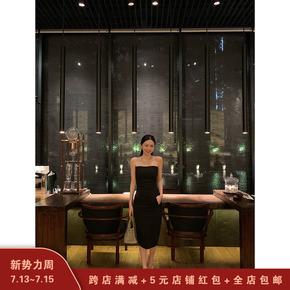 YELIA 抹胸黑色裙子女连衣裙2020新款夏季性感气质修身显瘦中长裙