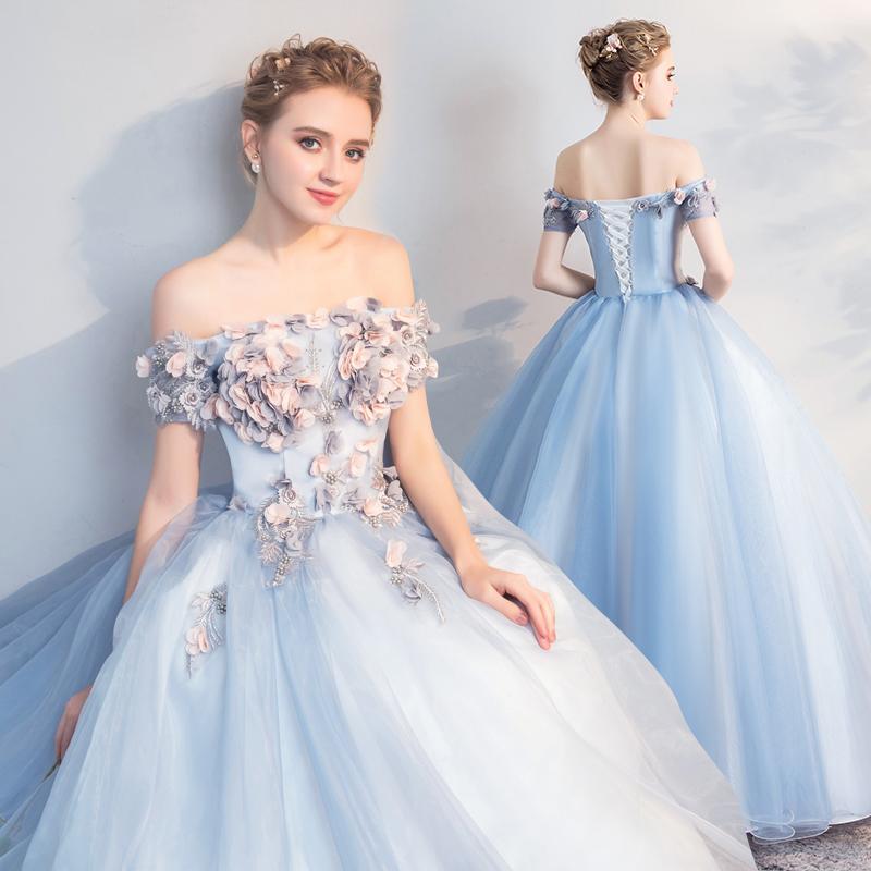 2020新款彩纱晚礼服蓬蓬裙美声舞台独唱艺考礼服一字肩长款演出服