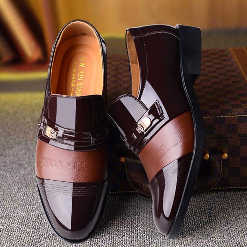9 2018冬季男士商务正装皮鞋男士套脚加绒棉鞋爆款男鞋
