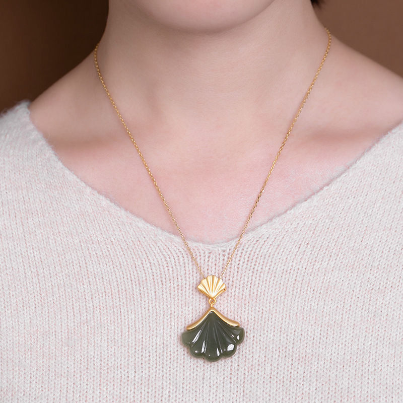 Style Hotan jade Sapphire Pendant shell fan-shaped Apricot Leaf Pendant Necklace S925 Sterling Silver retro simple jewelry
