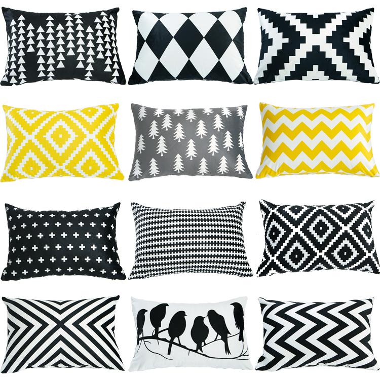 北欧简约双面黑白黄床上沙发抱枕套