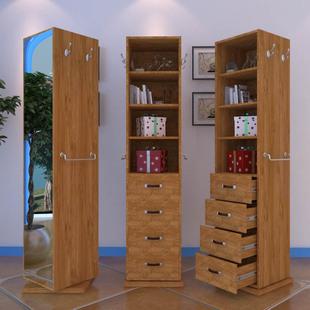 储物穿衣镜旋转实木色落地镜实用环保书柜鞋 全身试衣镜北欧式 柜