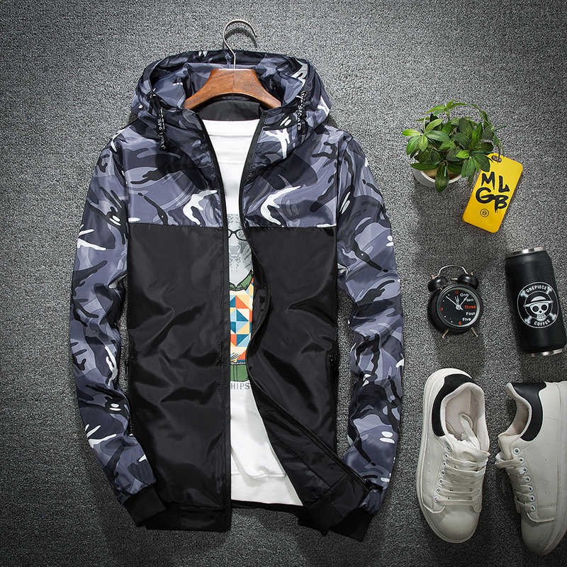 Spring and autumn hooded jacket mens jacket youth Korean slim versatile casual camouflage student sports coat