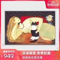 爱宠卧室油画床头画现代简约客厅装饰画北欧抽象挂画动物人物画