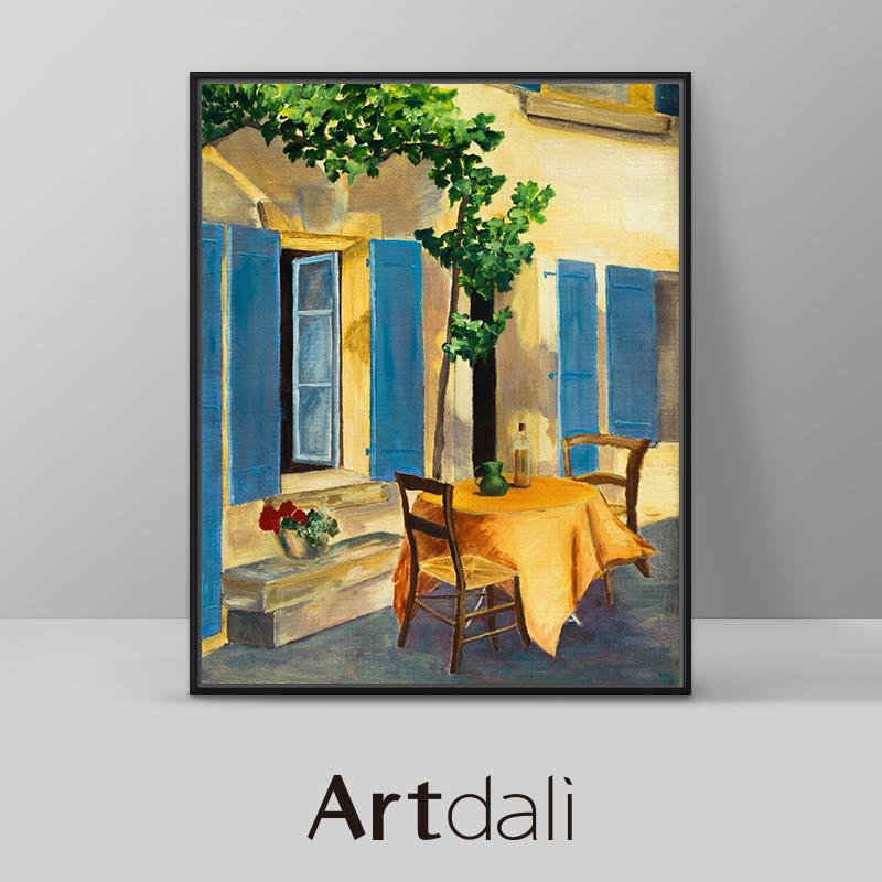 伊莉斯帕米贾尼-客厅油画餐厅风景画蓝色百叶窗