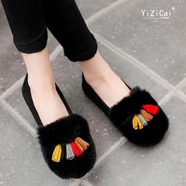 豆豆鞋女秋冬2020新款加绒棉鞋兔毛懒人平底单鞋外穿一脚蹬毛毛鞋
