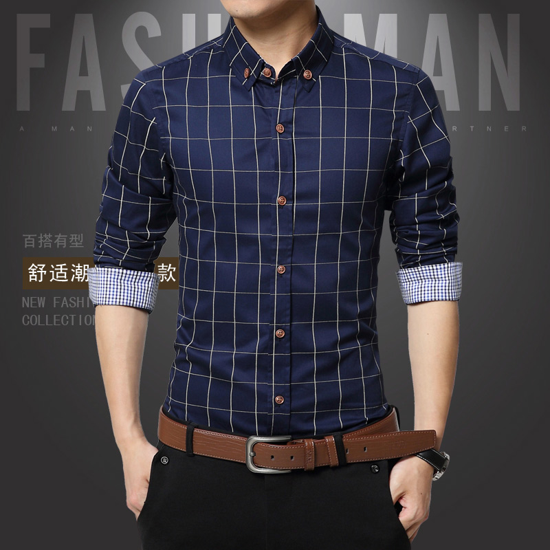 1311 long sleeve-p30-cotton factory direct selling autumn large Plaid long sleeve shirt 8 colors
