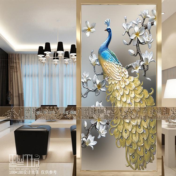 Континентальный искусство стекло экран отрезать начиная фон стена декоративный вход картины гостиная 3D трехмерный рельеф павлин