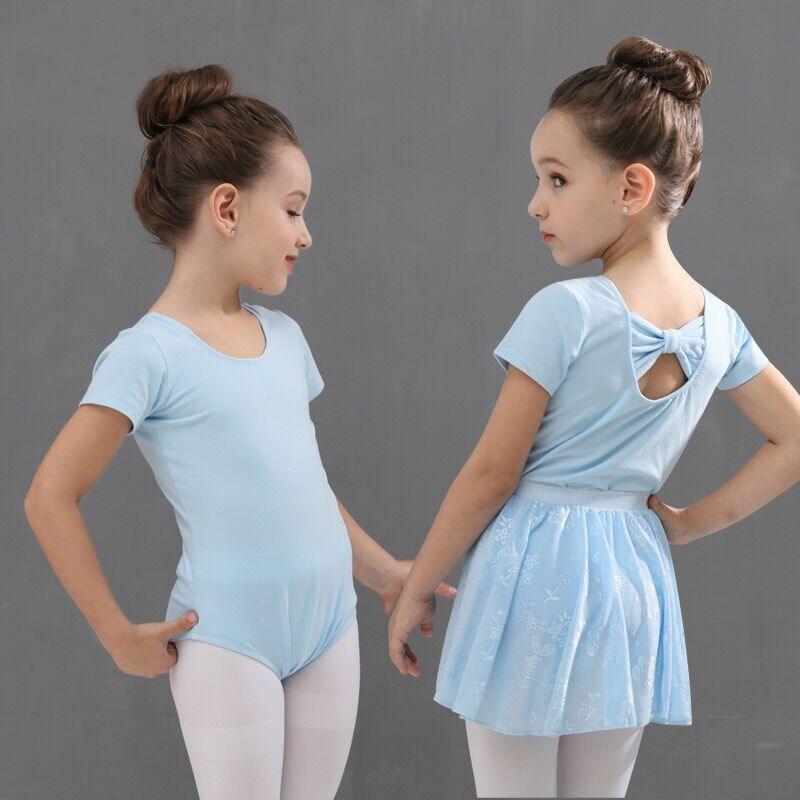 少儿童舞蹈练功服夏装女孩子短袖蝴蝶结体操形体表演服连体练舞