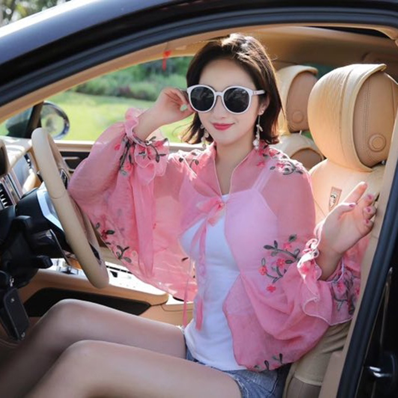 Sun proof clothes embroidered sunscreen shawl silk scarf women summer cycling driving air conditioning pure color Chiffon embroidery lace print coat