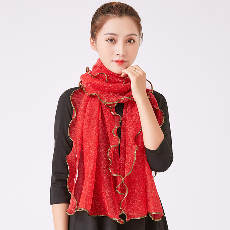 Scarf women winter warm silk scarf women Korean version versatile Chiffon Elastic Ruffle edge solid gold edge solid color rectangle