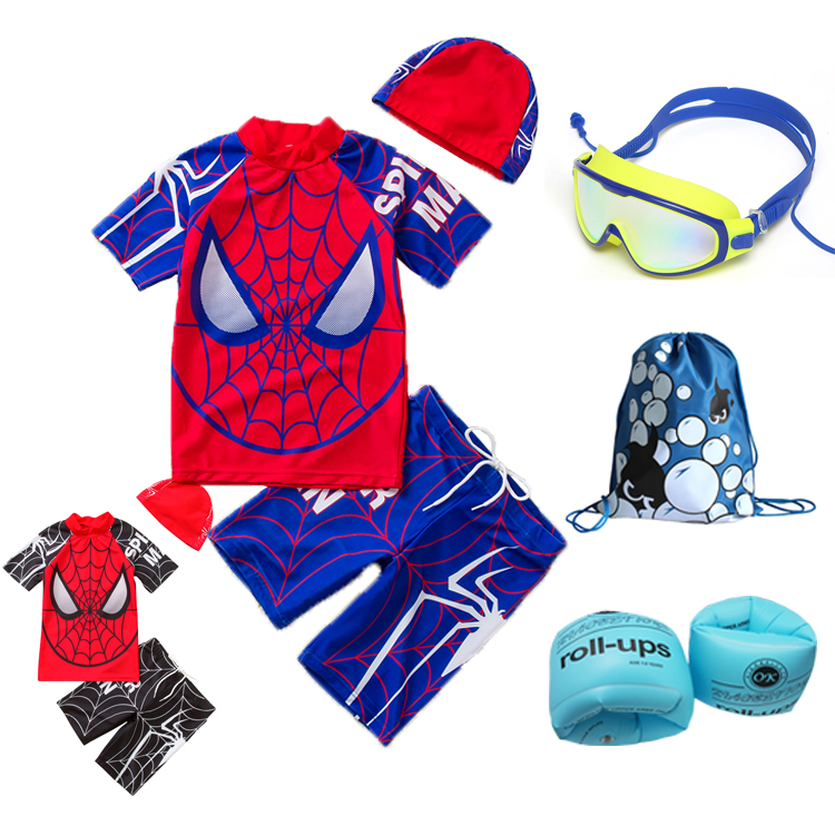 Childrens Swimsuit Boys trend kids one piece Korean Superman spider man cute sunscreen split baby SWIMSUIT SET