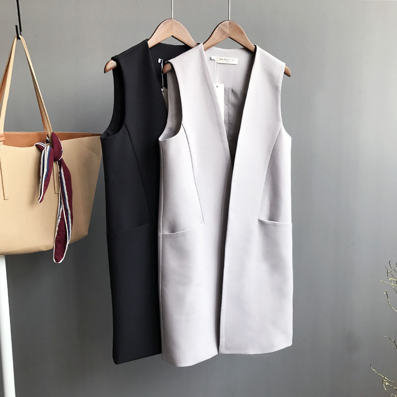 Spring and autumn suit vest womens middle and long summer Korean versatile sleeveless large Waistcoat Vest Jacket