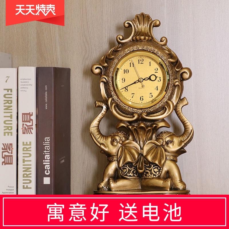 小象时钟客厅摆放大象钟表台式家用座钟欧式复古摆件摆钟时尚 Изображение 1