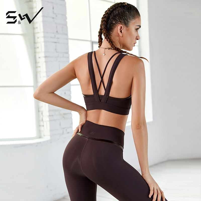 SW new popular thick and thin belt leather high elastic tight sports underwear can be worn outside the back sexy vest bra