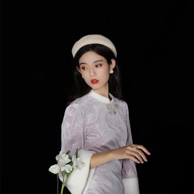 槿爷20新款冬天旗袍加厚加绒丝绒年轻款少女甜美时尚改良版连衣裙