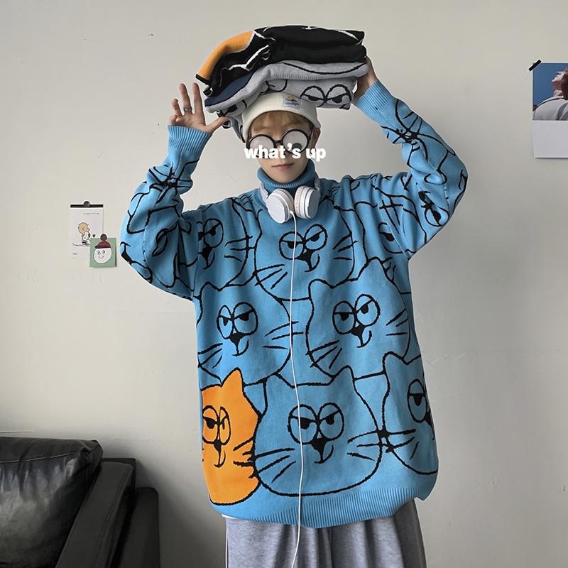 冬季男士宽松圆领卡通毛衣男中性情侣装针织打底高领线衣M05-P55