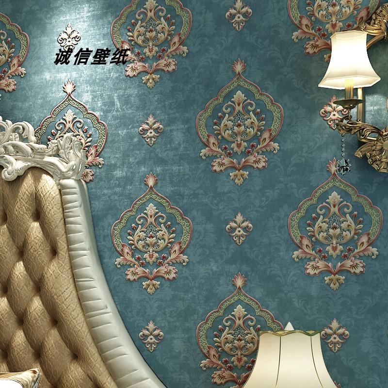现代复古欧式无纺布壁纸美式3d立体大马士革卧室客厅背景墙纸环保
