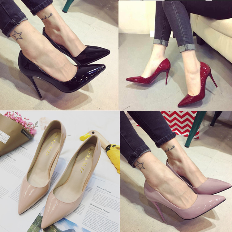 10cm nude pointed high heeled shoes black blue womens single shoe work thin heel wine red light mouth single shoes female