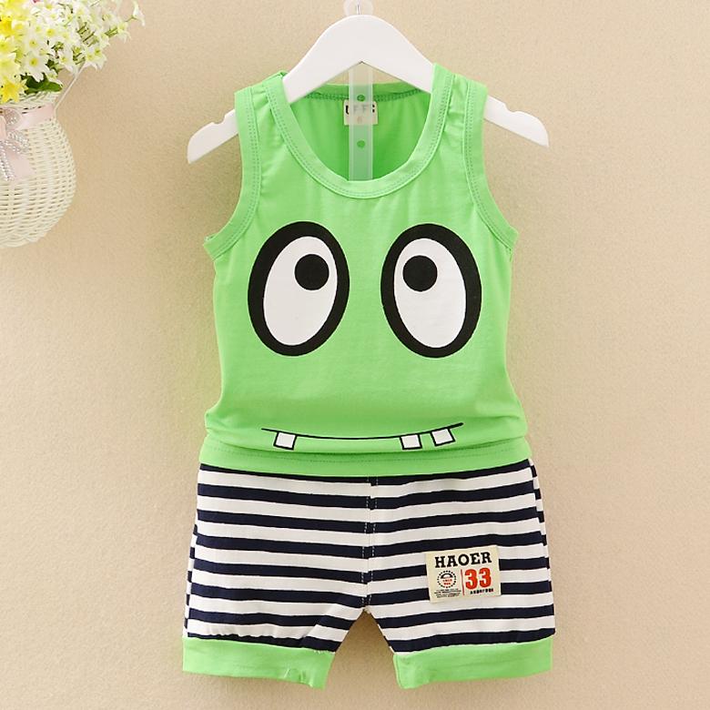 兒童夏裝男童背心套裝嬰兒小童純棉兩件套寶寶1-3歲無袖夏天衣服