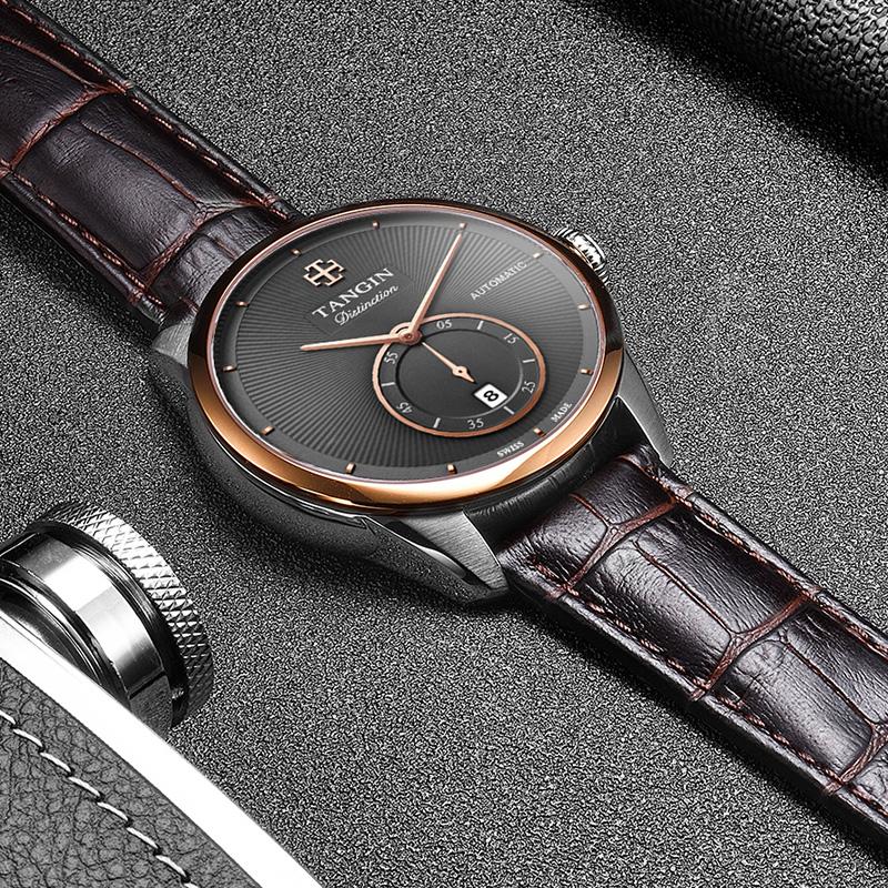 瑞士正品tangin天珺名牌男士牌子皮带机械表男式名表品牌男款手表