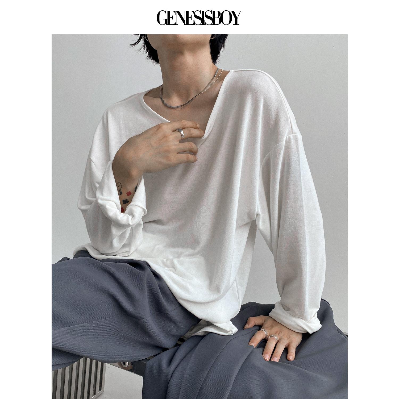 GENESISBOY 羊毛手感面料高弹力宽领宽松垂感长袖打底衫T恤男女款