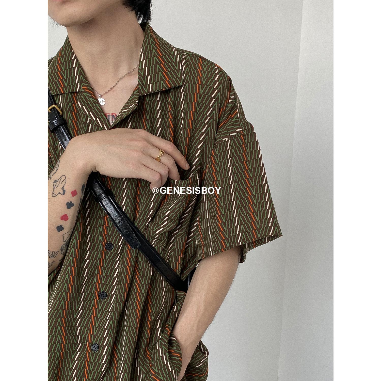 GENESISBOY夏日穿搭男女都需入手的日系复古睡衣领宽松短袖花衬衫
