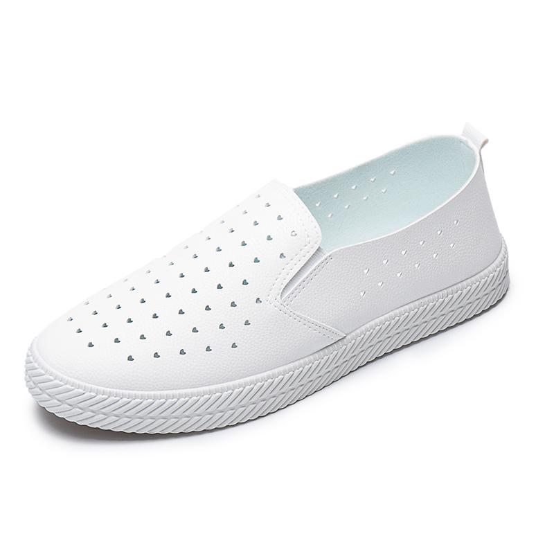 夏季皮面小白鞋女鞋2020新款百搭平底透气懒人一脚蹬软底护士白鞋