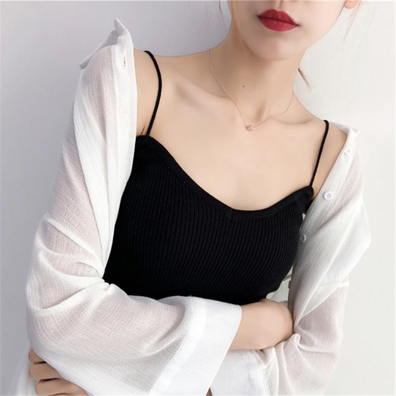 吊带背心女2018新款黑白色百搭无袖短款小清新内搭外穿棉麻打底衫