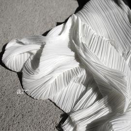 褶皱美学  百褶压褶细褶立体肌理褶皱布料雪纺服装裁料设计师面料