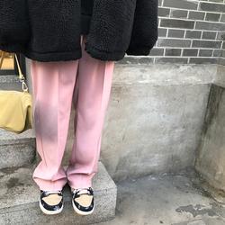 王少女的店铺粉色秋冬宽松西装裤