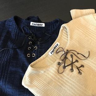 高腰露脐抽绳bm显瘦上衣 王少女 t恤 绑带短款 杏色长袖 秋季 店铺