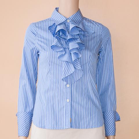 Plory2018 new spring and autumn Ruffle womens shirt vertical stripe slim cotton shirt poysob1101
