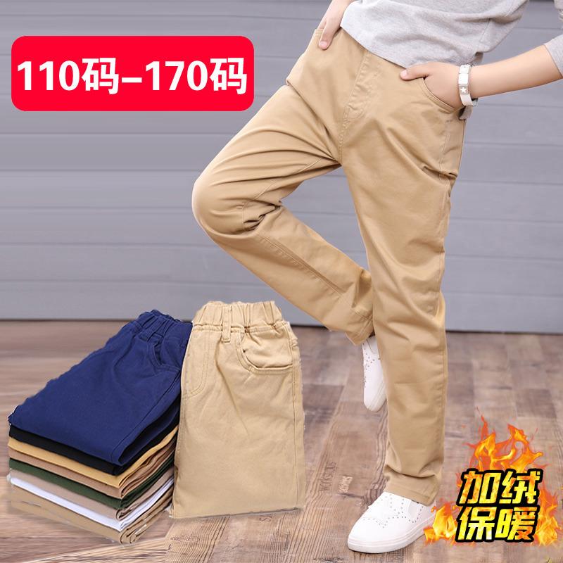 中大男童加绒加厚保暖弹力长裤小孩卡其色儿童休闲纯棉松紧腰裤子
