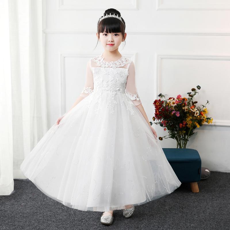 儿童公主裙小女孩主持人花童钢琴演出礼服洋气女童连衣裙蓬蓬纱裙