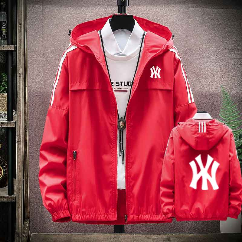 Mens jacket spring Harajuku style sports leisure Hooded Jacket two bars Korean youth class clothes trend