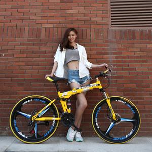 BeGasso26寸折叠自行车变速减震油碟刹山地车铝合金一体轮单车zxc