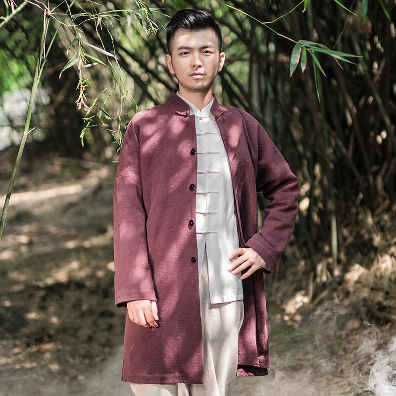 重道秋冬中国风男装厚型棉麻大衣改良唐装中式立领盘扣中长款外套