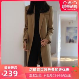 韩版秋冬季复古女士过膝呢子大衣中长款加厚保暖驼色茧型毛呢外套