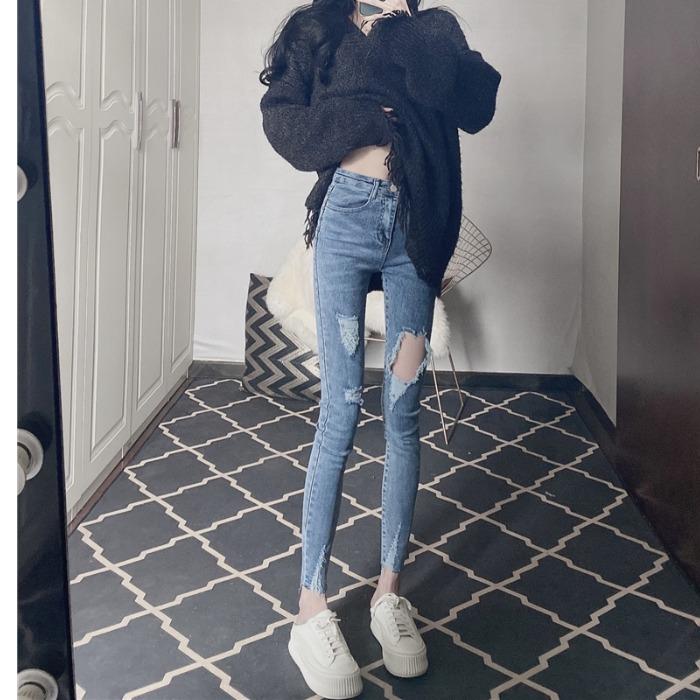高腰牛仔褲2021年春裝新款夏季緊身顯瘦破洞鉛筆藍色小腳褲子女士