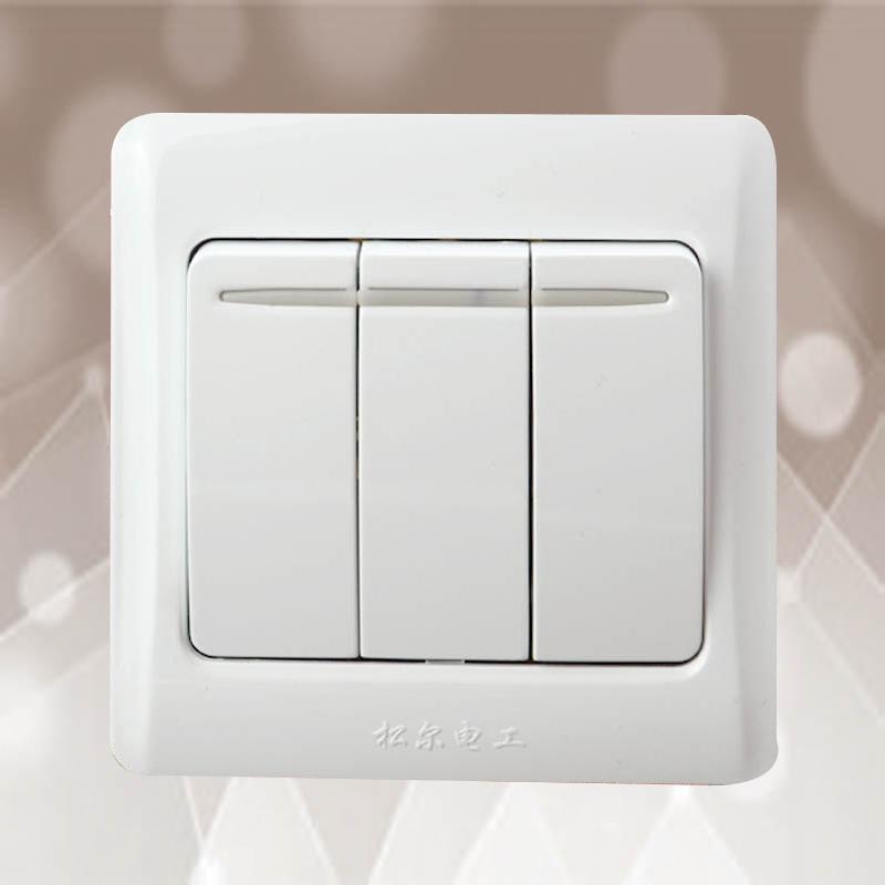 松尔插座开关面板K40 系列白色 三开双控开关插座墙壁插座面板