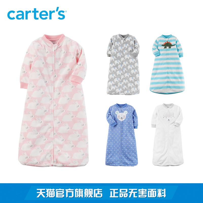Carters1件式印花长袖摇粒绒睡袋男女宝宝婴儿童装多色118H703