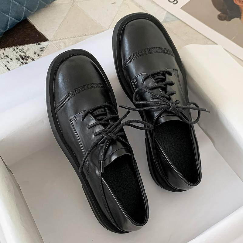 小皮鞋女英伦风黑色单鞋2020春秋新款百搭平底复古一脚网红懒人鞋