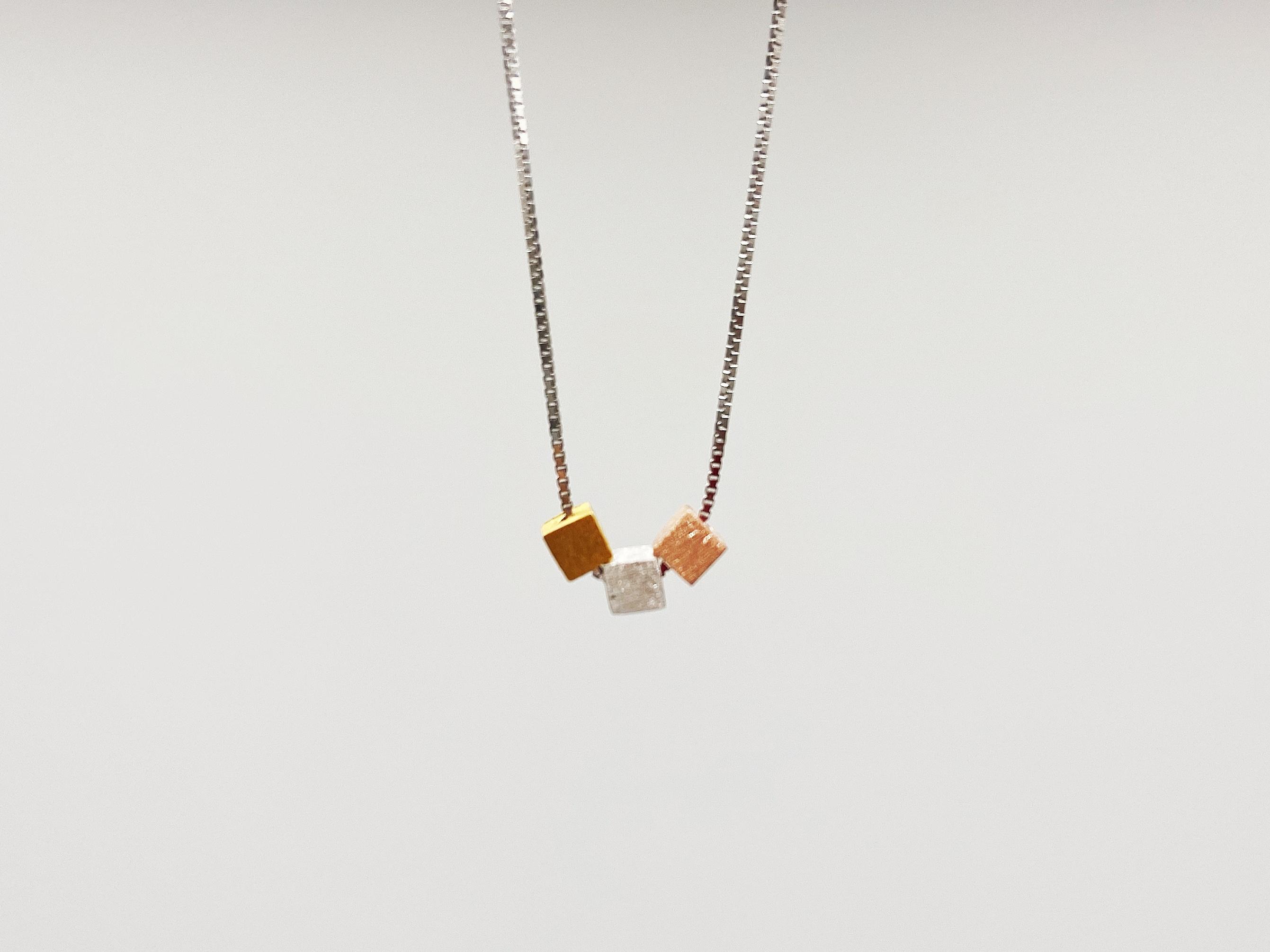 方块冷淡风转运项链女925纯银小众设计ins锁骨链简约气质个性吊坠
