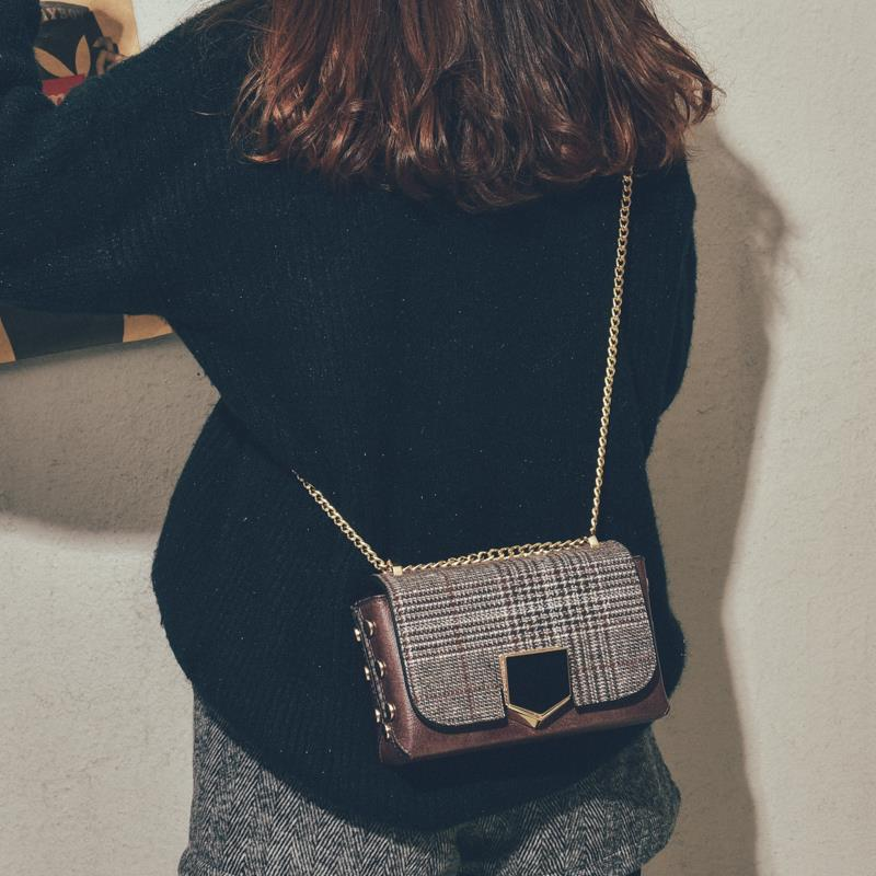 Small CK autumn and winter leather bag womens 2019 new versatile messenger bag chic fashion retro tweed lattice Bag Fashion